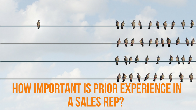 Importance of prior experience as a sales representative